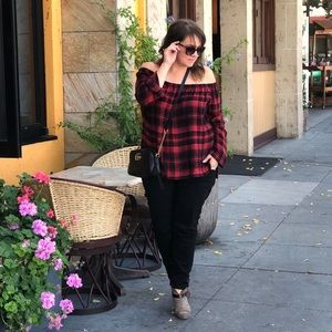 Cloth & Stone Flannel Plaid Off The Shoulder Top
